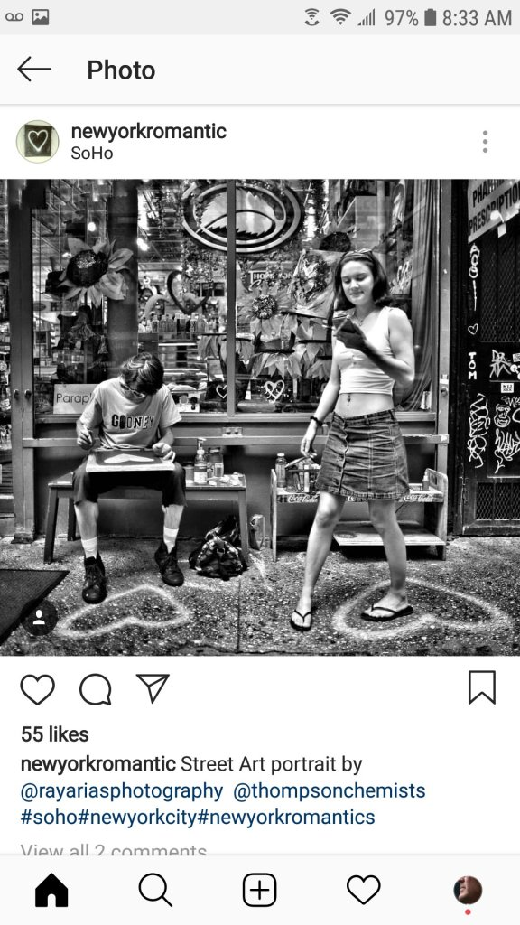 a picture of Hash Halpern with another artist in front of Thompson Alchemists