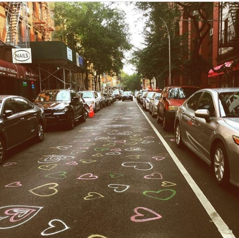 Chalk hearts on Thompson street in New York City