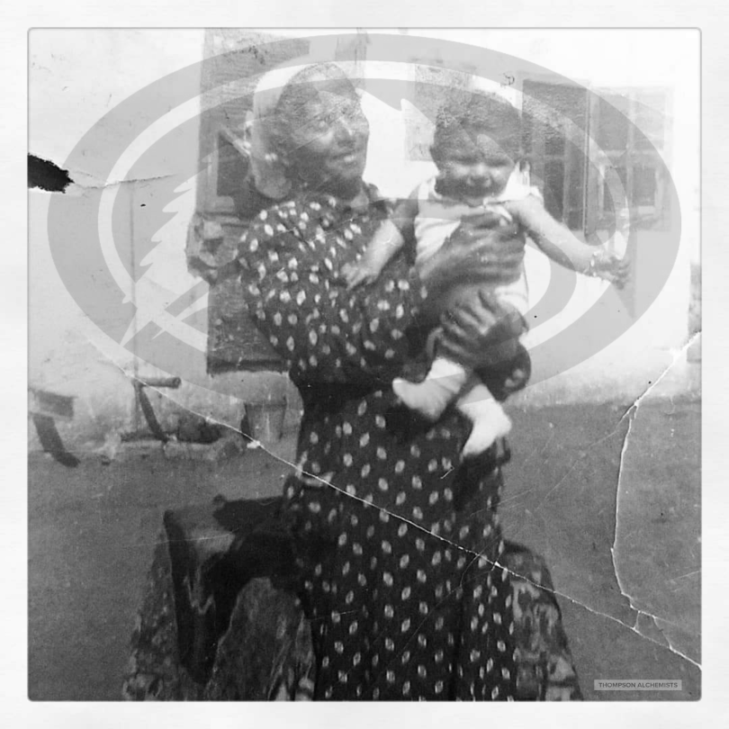 Gary Alony's great grandmother holding his uncle doni