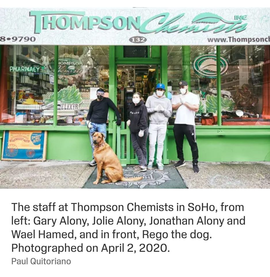 the staff at Thompson Chemists in Soho , from left Gary Alony, Jolie Alony , Jonathan Alony and Wael Hamed , and Rego the dog . Photographed on April 2, 2020
